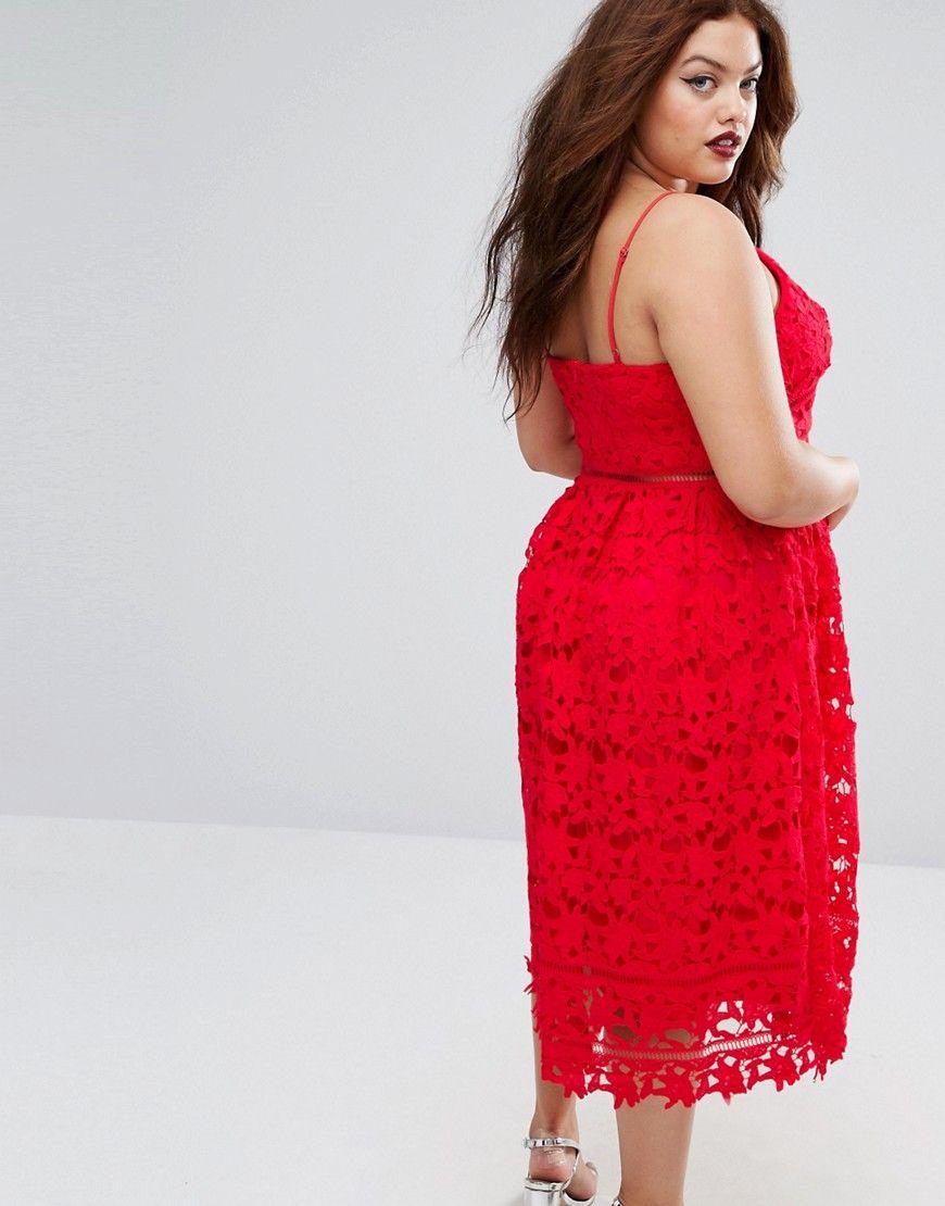Boohoo Plus Size Lace Plunge Midi Dress | Plus Size Dresses ...
