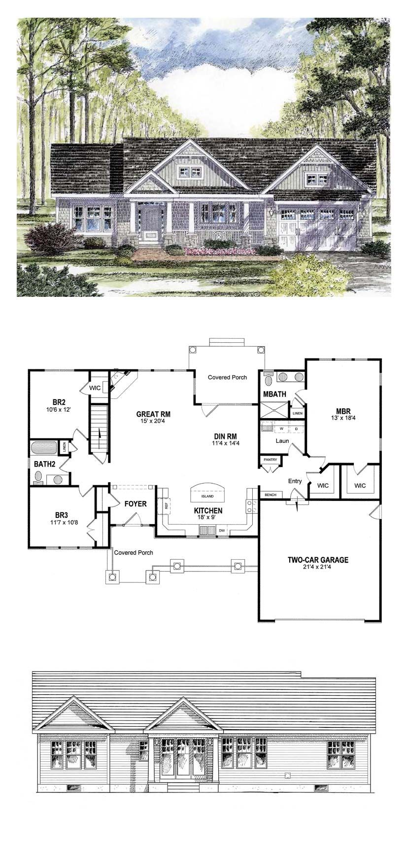 ranch house plan 94182 total living area 1720 sq ft 3 bedrooms rh pinterest com  3 bedroom house plans with a study