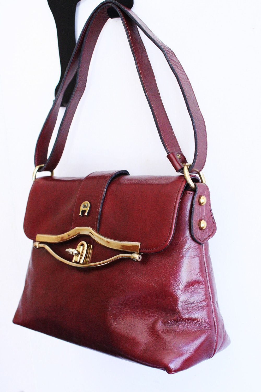 754f96ca8ca2 Etienne Aigner Vintage 1970 s Leather Purse Oxblood Calf Skin Huge ...
