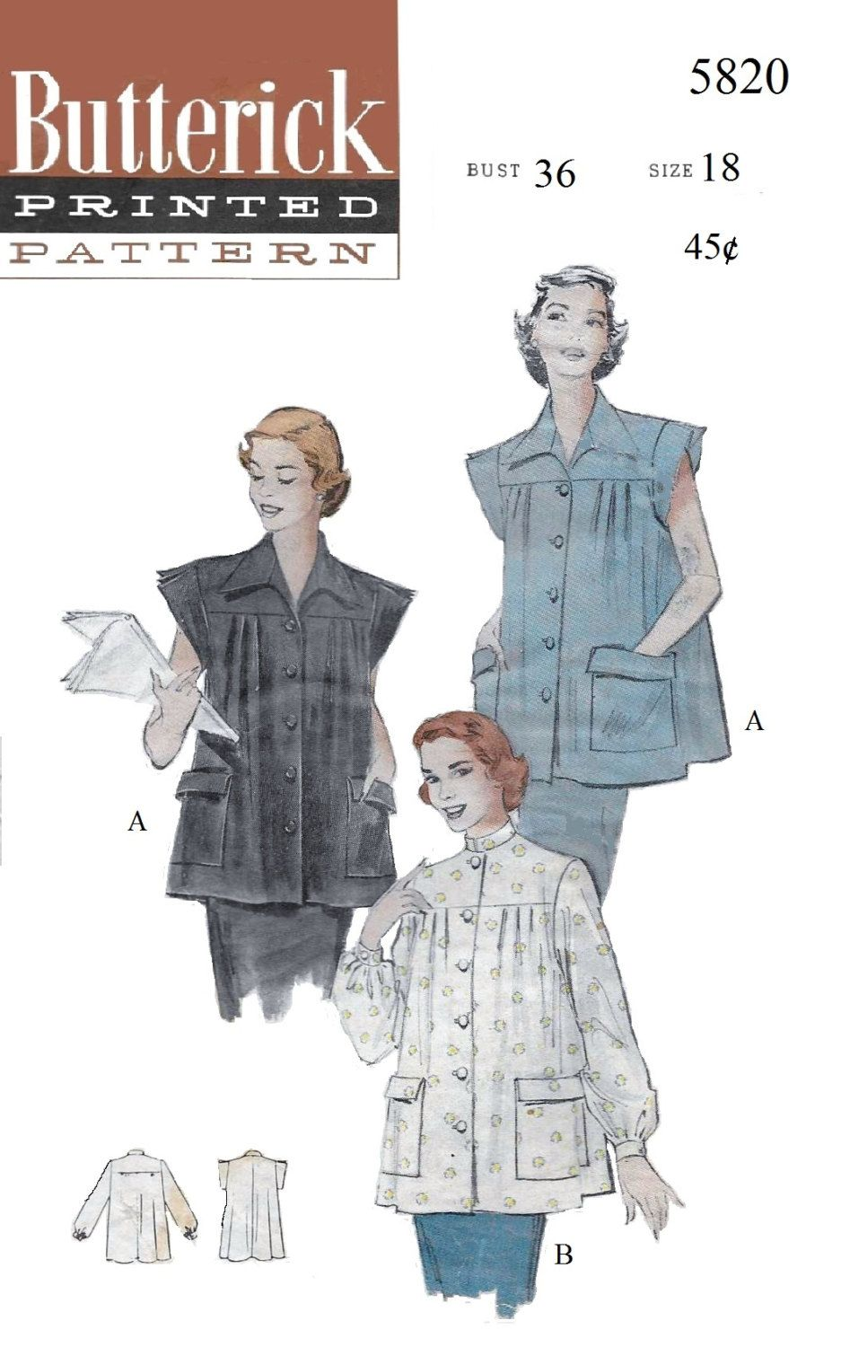 Butterick 5820 Women\'s 50s Boxy Button Front Smock Sewing Pattern ...
