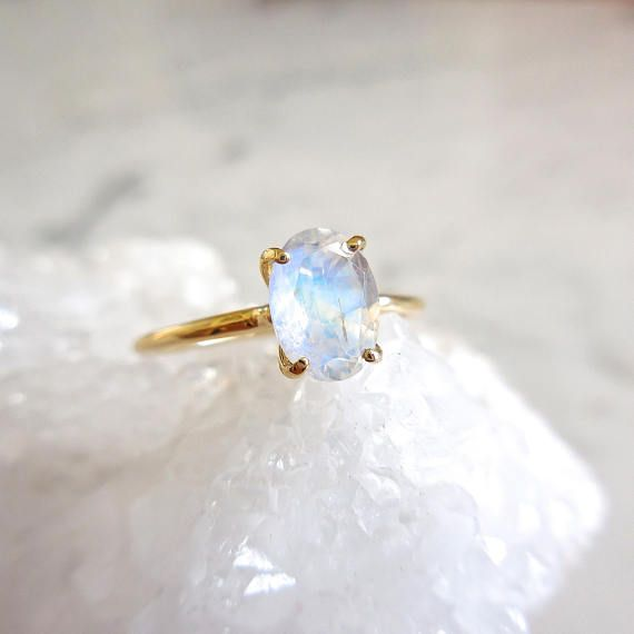 064738421a481 Moonstone Engagement Ring - Oval Moonstone, Delicate Moonstone Ring ...