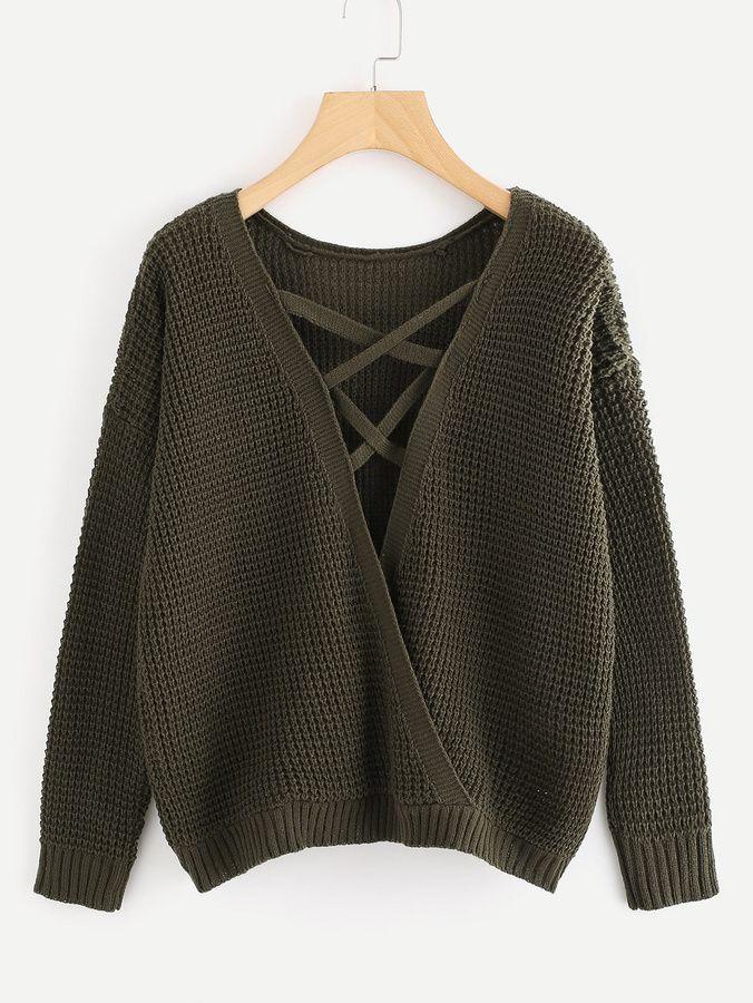 f91e72afff Romwe Lace Up Surplice Texture Knit Sweaterone-size