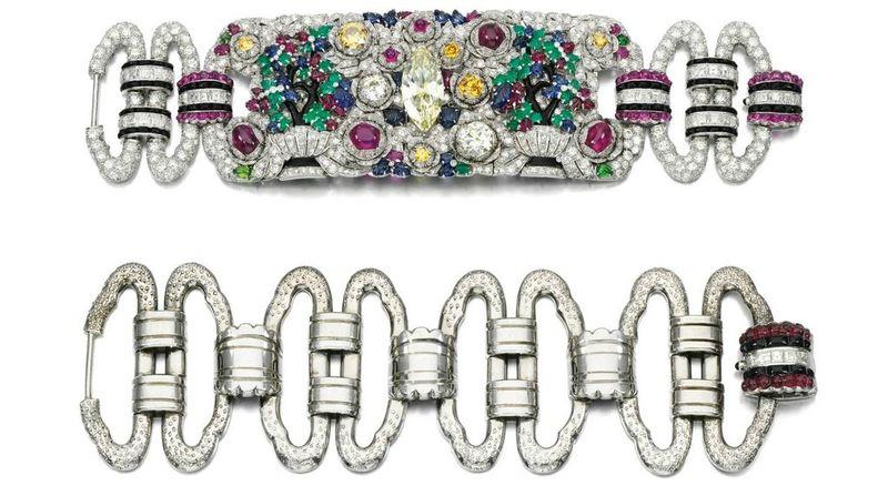 Important gem set and diamond bracelet, 1930s