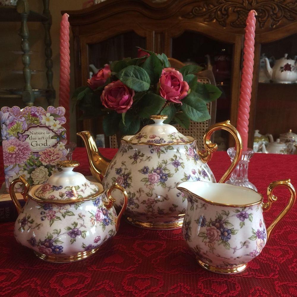 Royal Albert 100 Years Tea Set 1940 English Chintz Teapot- Covered Sugar Creamer #RoyalAlbert100YearsTeaSet1940sEnglishChint & Royal Albert 100 Years Tea Set 1940 English Chintz Teapot- Covered ...
