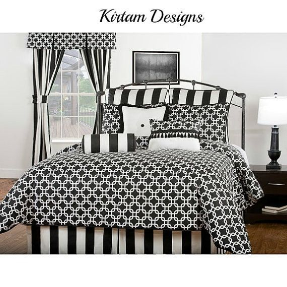 "Queen size bed skirt + 2 Euro shams, vertical 3"" stripe black"
