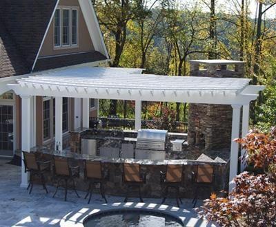 Radius outdoor kitchen pergola wood pergolas solid cellular pvc pergolas and hollow vinyl for Outdoor kitchen designs with pergolas