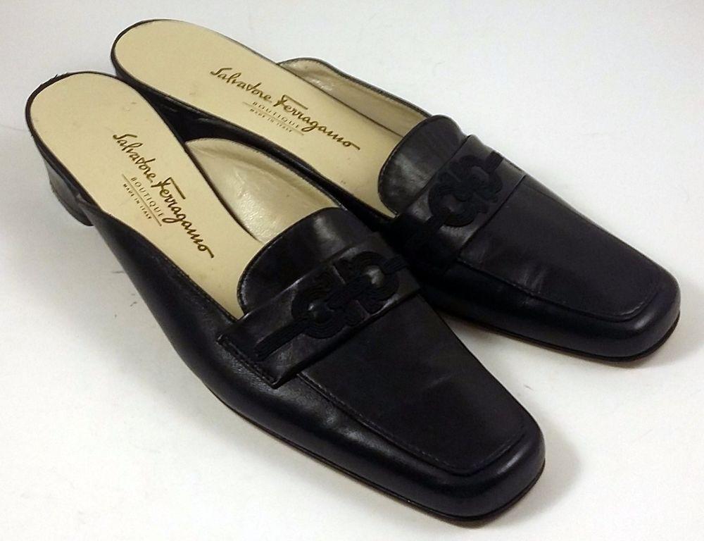 de20bda65491 SALVATORE FERRAGAMO Women s Shoes ~ Vintage Black Leather Low Heel Mules ~  8 AA  SalvatoreFerragamo