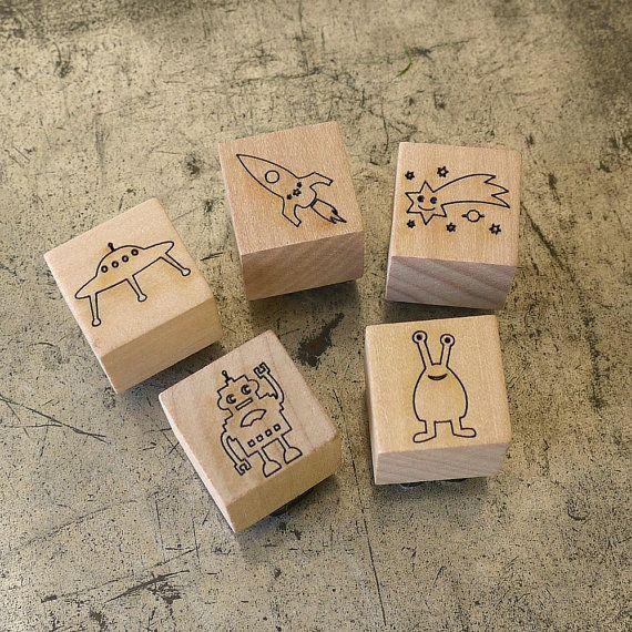 Space Rubber Stamp Set Mini Stamper Set Rocket by BooBooAndTed