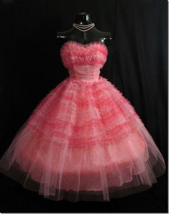 "Lastly the most amazing 1950s Vintage Pink Tulle Gown, from seller5ft2isoblu,  I think I have ever seen. Wouldn't this make for a spectacular Valentine's Day outfit! Now, if I only had $300 and a 24"" waist………"