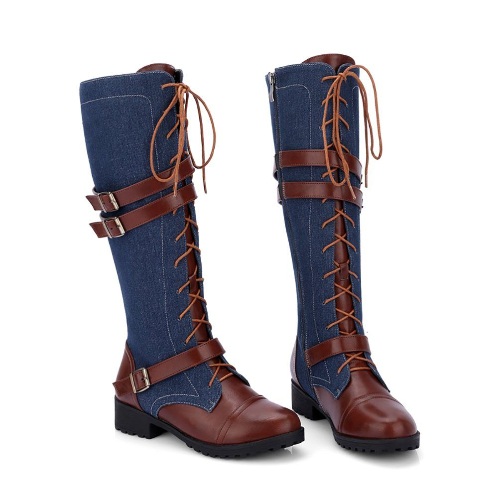 193bc3b366f KARKEIN Womens Inside Zip Military Combat Boots Lace Up Buckle Knee High  Denim Riding Boots     Want to know more