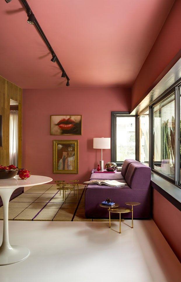 Decor Do Dia Sala De Estar Rosa Com Ar Retro Interiors Space Age And Architecture Interior Design