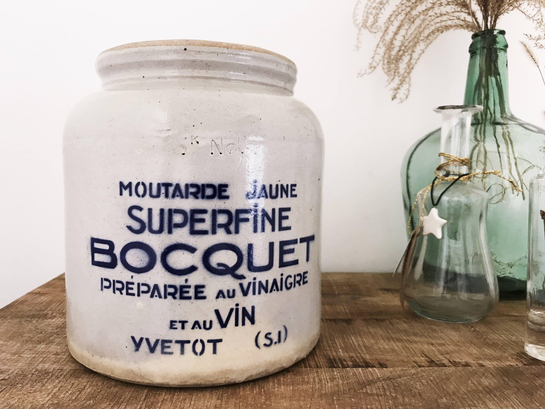 Huge Old Bocquet Yvetot Mustard Pot In Stoneware 5kg Capacity
