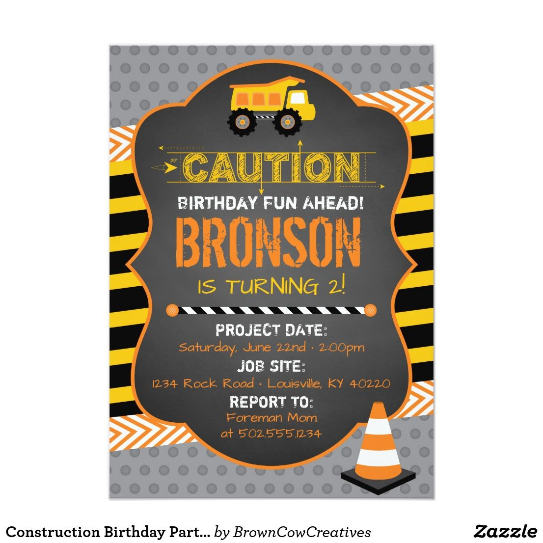wording ideas forst birthday party invitation%0A Construction Birthday Party Invitation