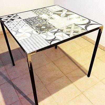 Tavoli In Maiolica Da Giardino.Tavolo Artigianale In Ferro Metallo Piastrelle Cementine 80 X 80