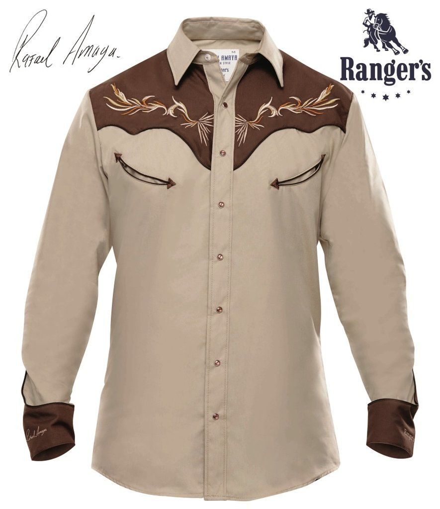 97dbd7c2242df Camisa Vaquera Rangers Rafael Amaya Collection Modelo RAN 61 Color  Beige Café