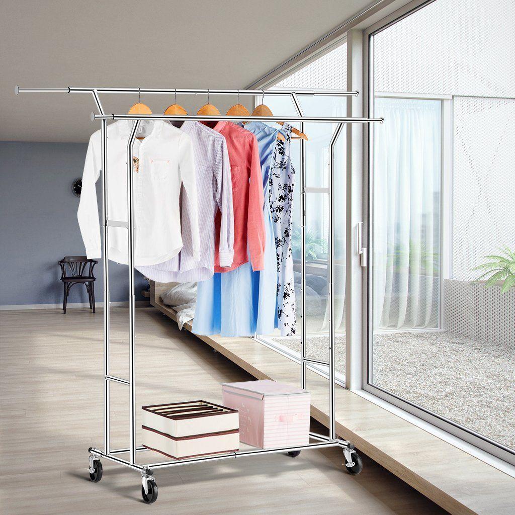 Amazon LANGRIA Commercial Grade Double Rail Clothes Rack Supreme Steel Garment