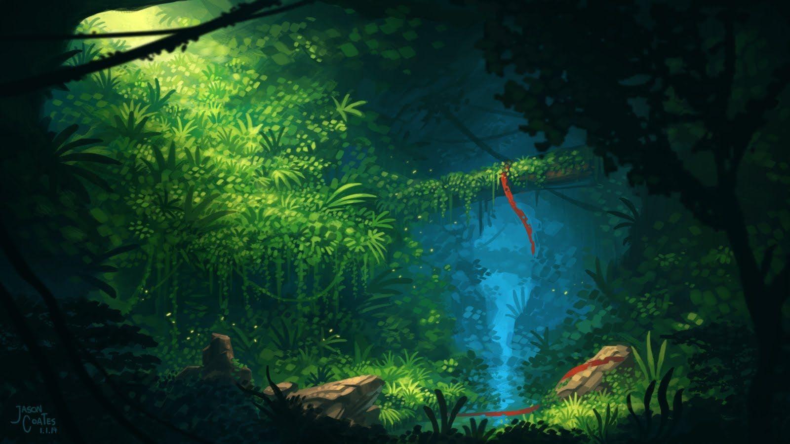 Timelapse Digital Painting Overgrown Cave Timelapse Digital