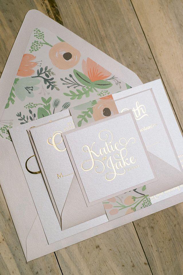 sample wording for rsvp wedding invitations%0A Foil  Gold and Blush Floral Wedding Invitation  SAMPLE  Adele  by  JustInviteMe on