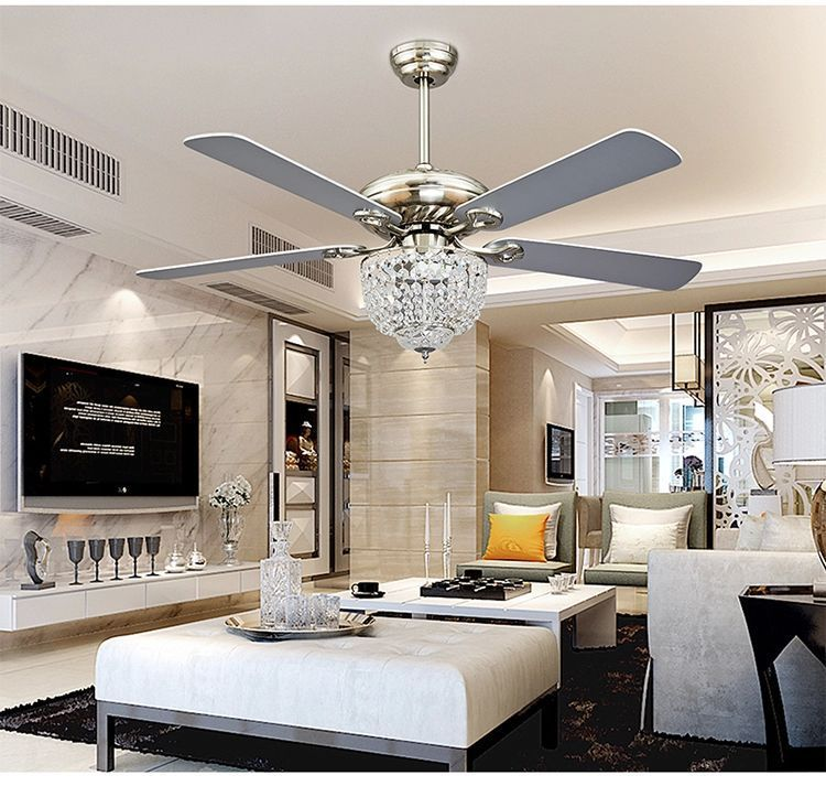 Crystal ceiling fan chandelier with four blades for living Living room ceiling fan ideas