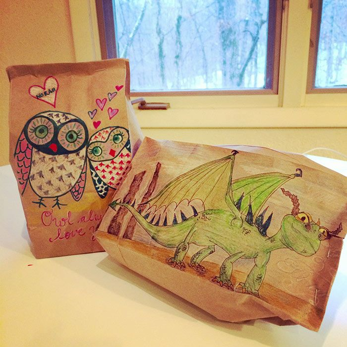 Divorced Mom Bonds With Her Kids By Drawing Cool Lunch Bag Illustrations Best Lunch Bags Brown Paper Lunch Bags Paper Lunch Bags