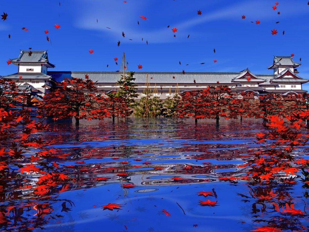 3dcg 紅葉の金沢城公園 壁紙1024x768 壁紙館 美しい場所 城