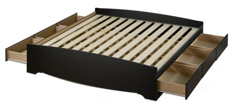 Prepac King Size Platform Storage Bed With 6 Drawers Black King