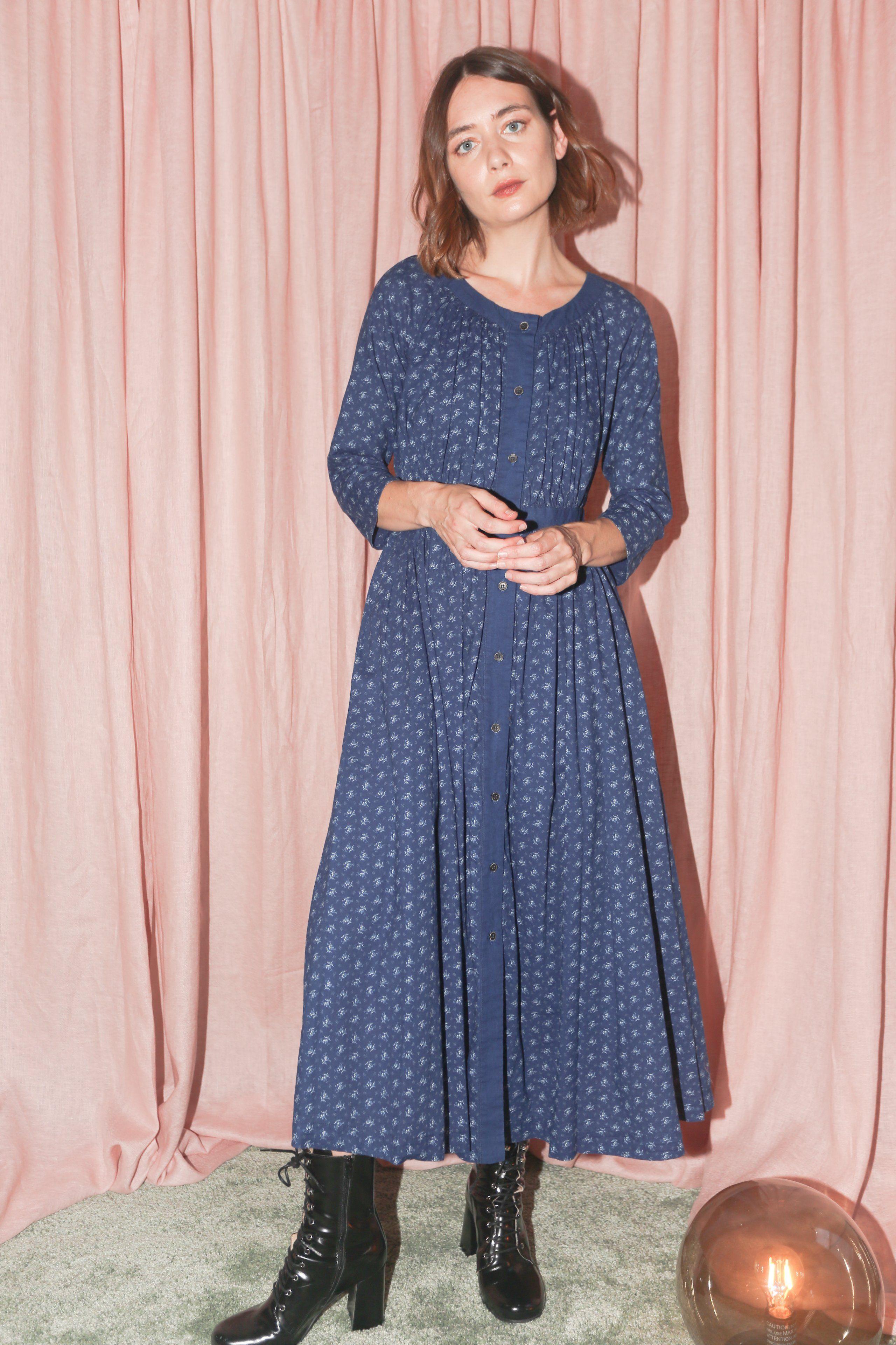Caron Callahan Prairie Dress in Indigo Bouquet Floral   J\'aime ...