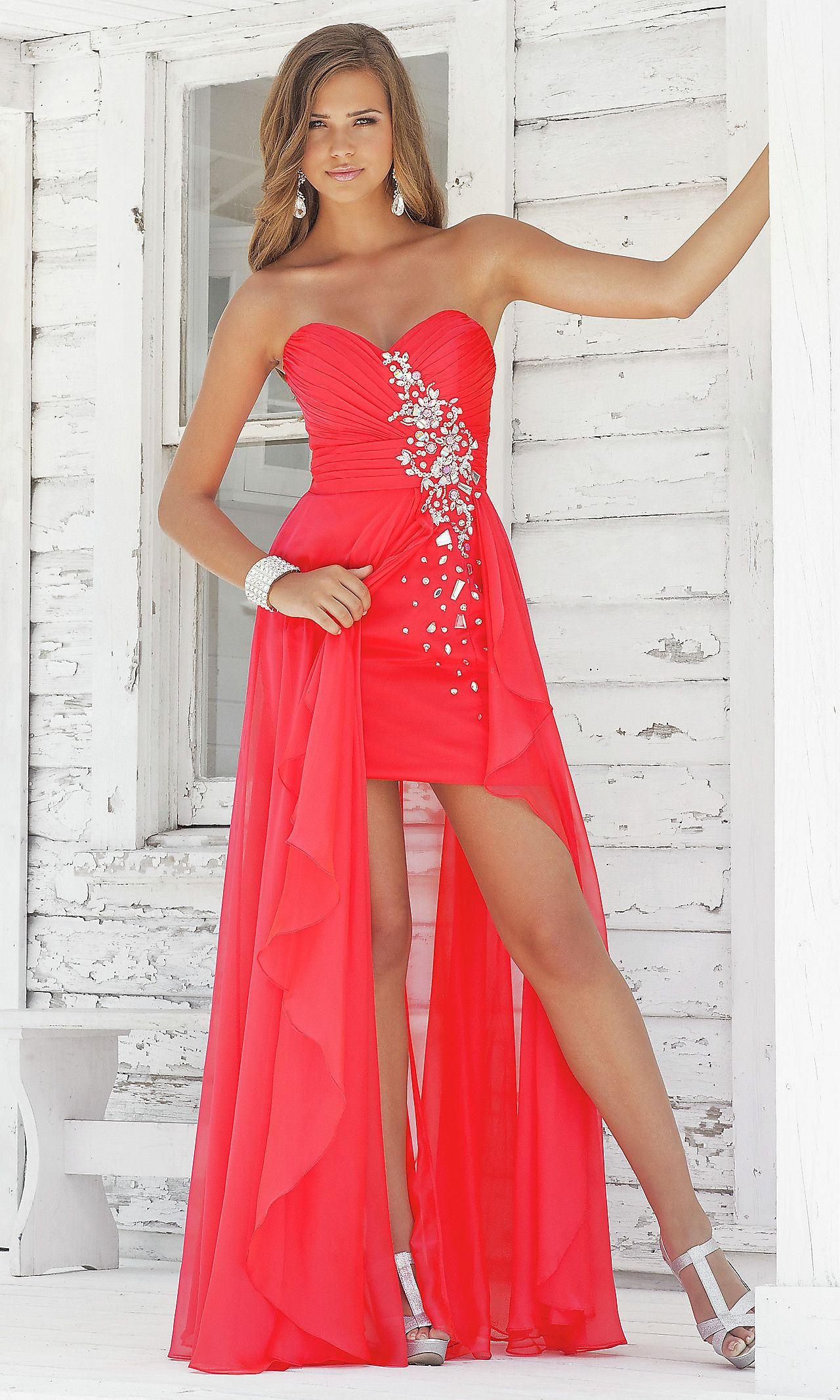 Red Strapless High-Low Prom Gown