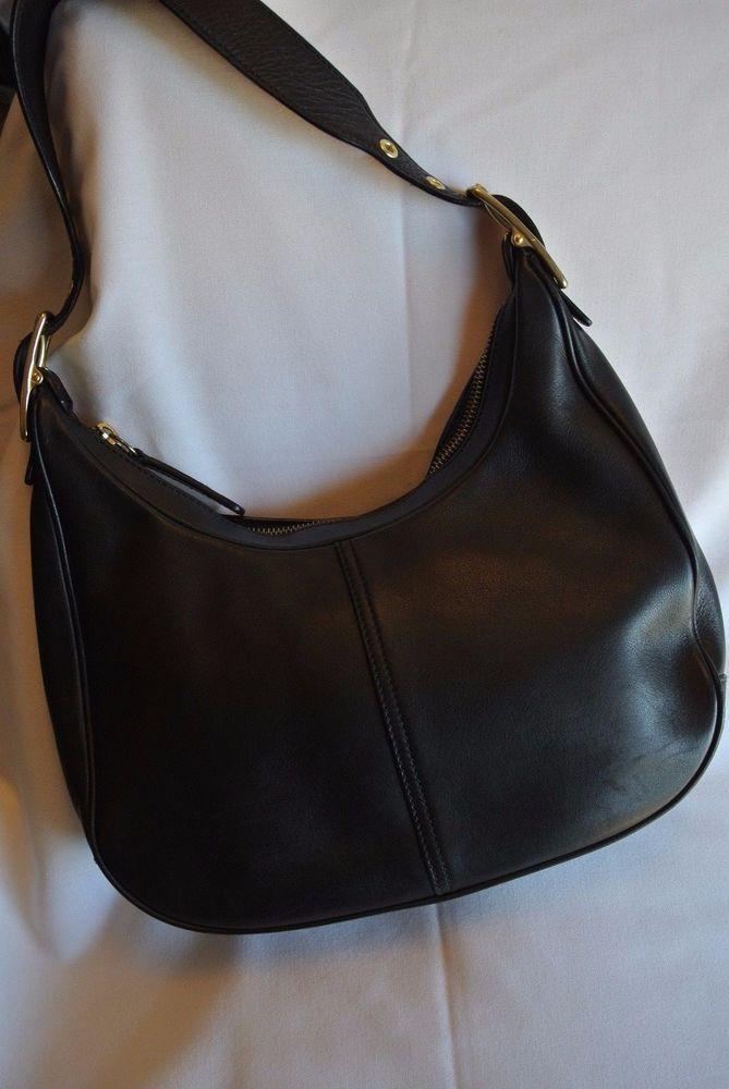 Coach Medium Black Leather Hobo Shoulder Handbag 9342 Gold Accents ...