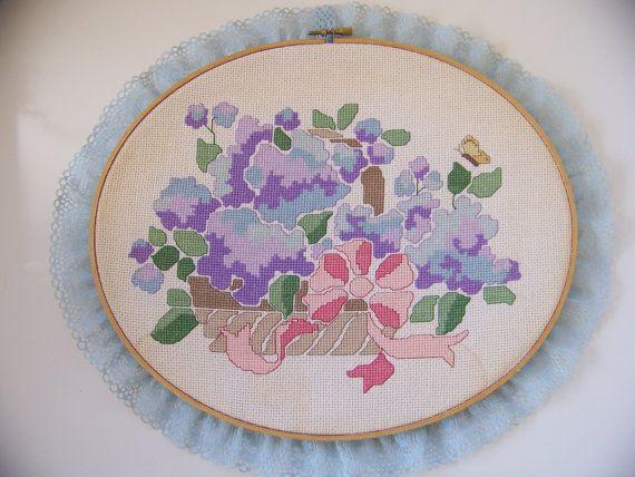 Hydrangea BasketNeedlepoint by Mrsflobbernoodle on Etsy, $30.95
