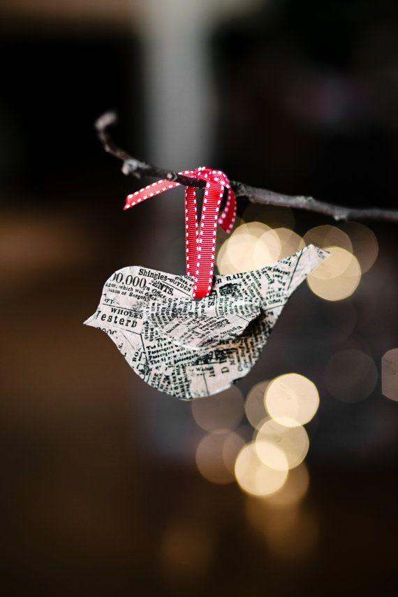 Newsprint Small Bird Ornament. $10.00, via Etsy. #smallbirds