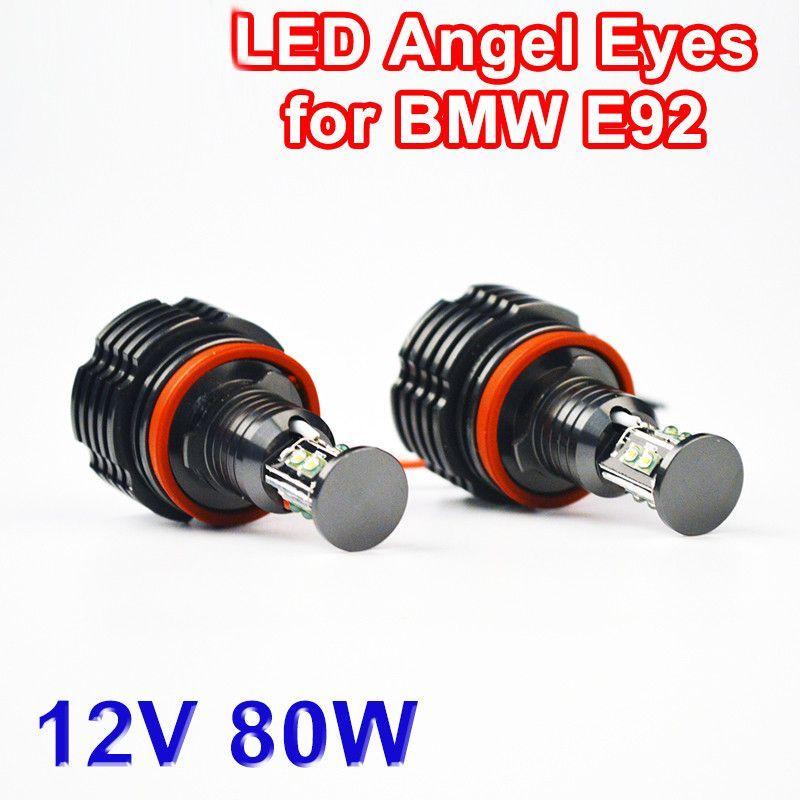2 Pieces(1 Set) 2*40W 80W H8 Angel Eyes LED Marker CREE LED Chips XENON White 7000K for BMW E90 E92 X5 E71 X6 E82 M3 E60 E70