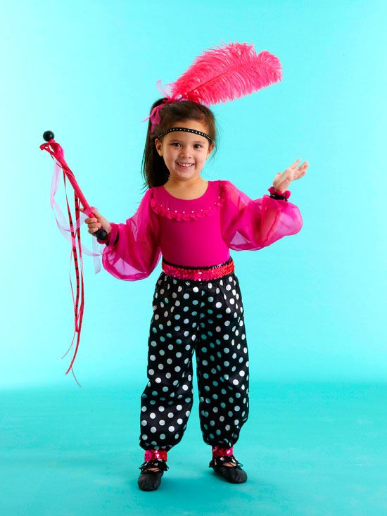 This flashy circus girl costume is made easily from a pair of satin pajama pants  sc 1 st  Pinterest & Easy-to-Make Kidsu0027 Halloween Costumes | Pinterest | Circus acrobat ...