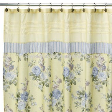 Country White With Yellow And Blue Shower Curtain