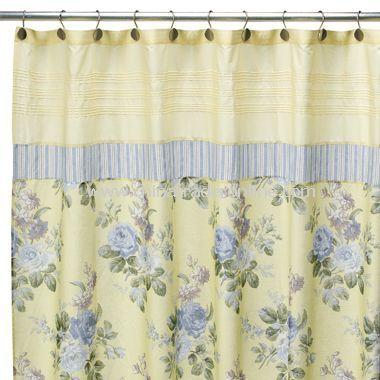 Laura Ashley Caroline Fabric Shower Yellow Bathroom Decor
