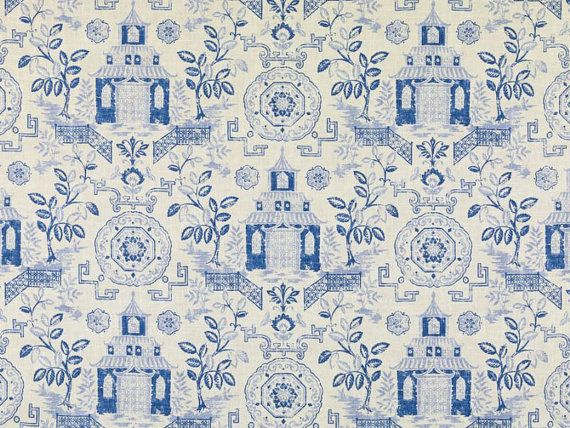 Navy Blue Asian Toile Linen Upholstery Fabric Custom Modern Part 85