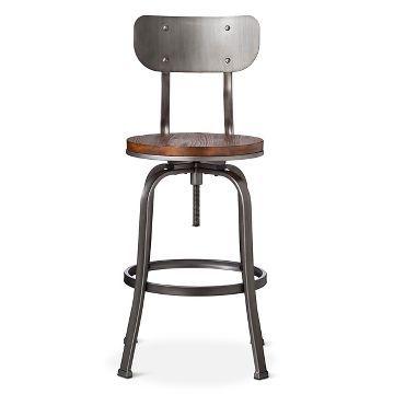 Dakota Backed Adjustable Barstool   The Industrial Shop™