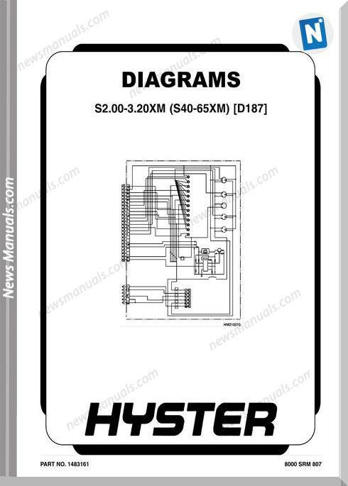 Hyster Electric Diagrams S2.00-3.20Xm S40-65Xm D187 | Wiring ... on hyster electrical diagrams, hyster w40z, hyster ignition system, hyster 5.0 engine, hyster hydraulic diagram, hyster forklift tire diagram, hyster forklift schematic,