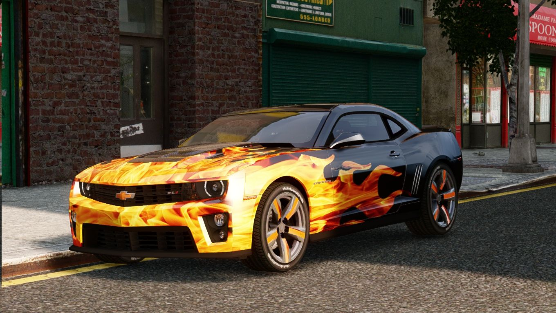 Black With Bright Flames On The Hood Camaro Camaros