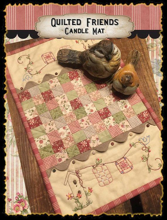 Quilted Friends Candle Mat by myreddoordesigns on Etsy