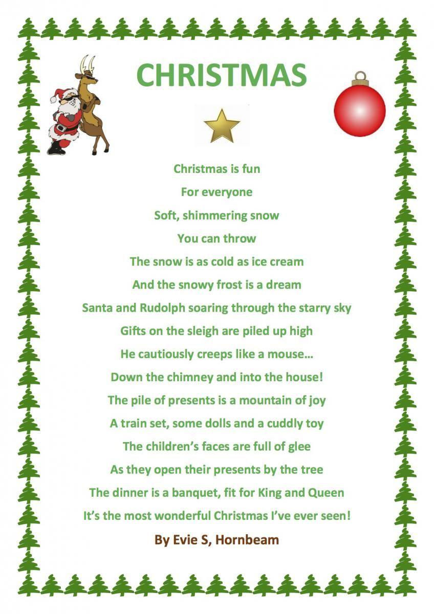Christmas poems for church programs - Poems Of Christmas Evie Has Used Word To Produce A Christmas Poem In Hornbeam Whilst