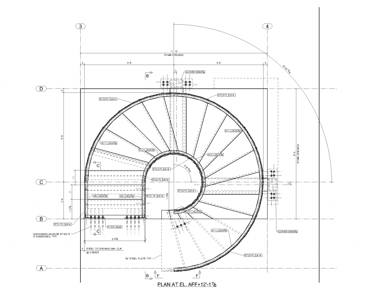 Circular stair 101 warren street new york ny plan for Square spiral staircase plans hall