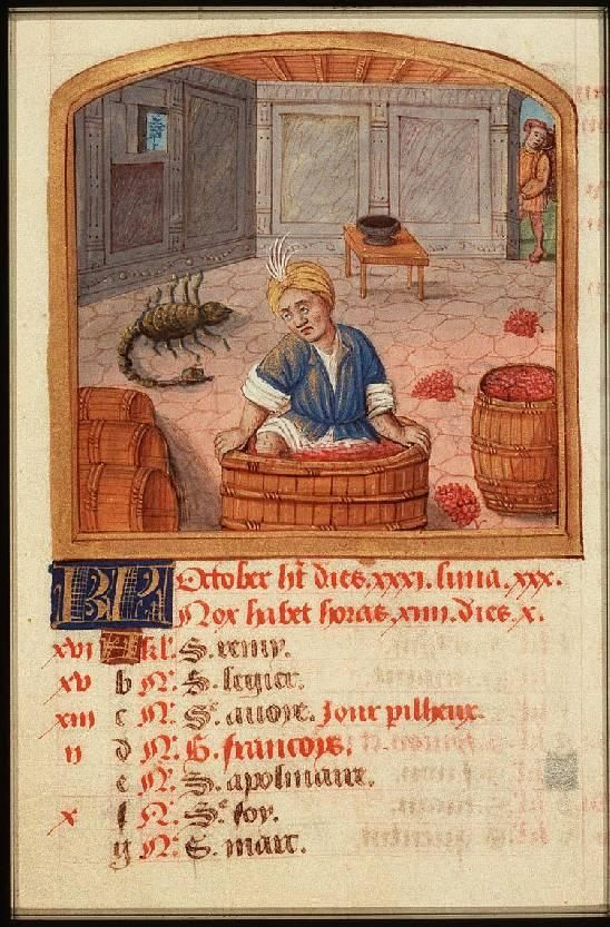 October - Book of Hours (use of Rome), Paris(?); c. 1490-1500 - The Hague, Koninklijke Bibliotheek, 76 F 14
