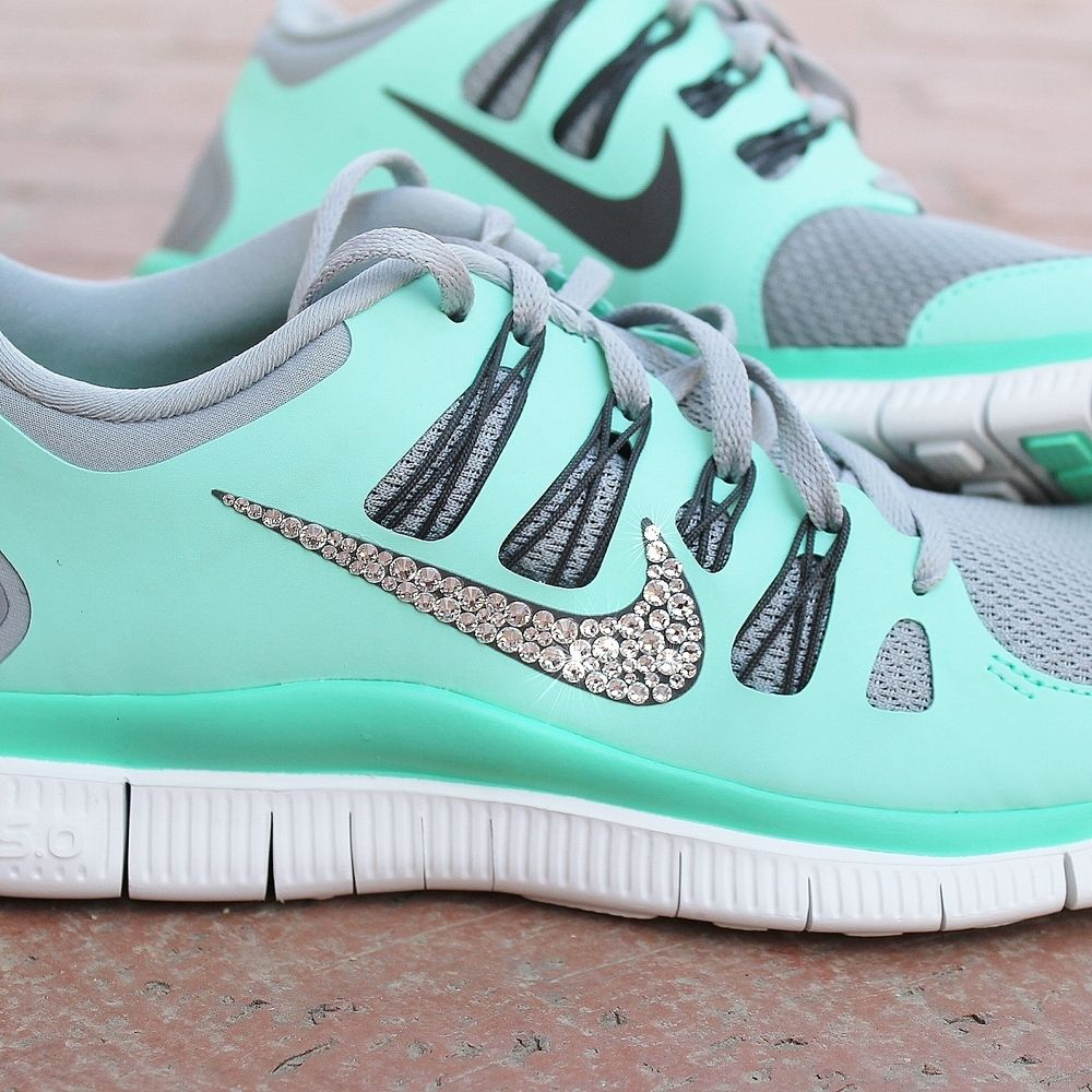 Tiffany Blue Nike Free Runs 3 Womens Nike Free Swarovski Rhinestones Green  Glow [Half Off Nike Frees -