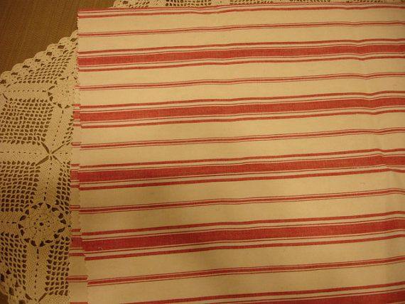 Vintage French Ticking Upholstery Fabric Light Red And Creamy Off White Striped 22 By 30 On Etsy 10 83