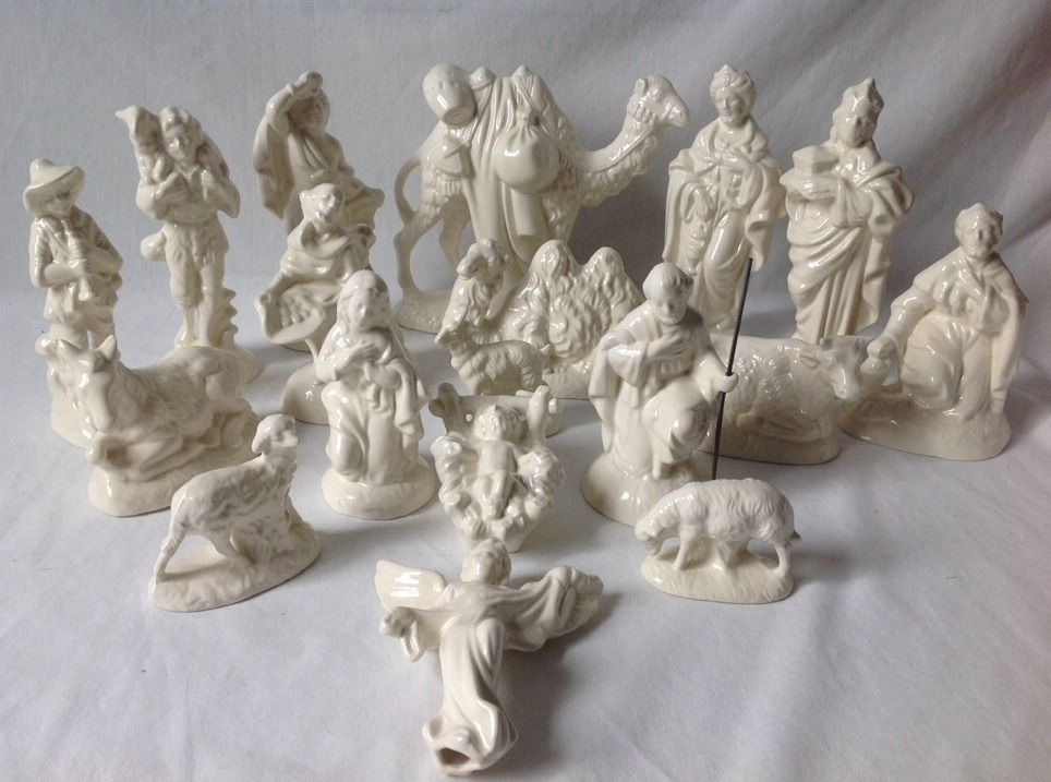 Vintage Atlantic Mold White Christmas Nativity Set Glazed