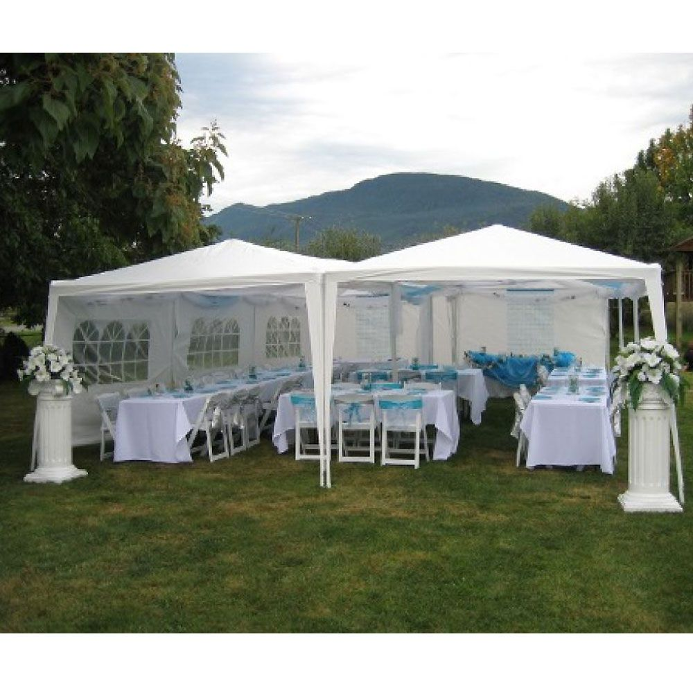 Partysaving 10 X 30 Outdoor Gazebo Easy Up Canopy Kit Wedding White Party Tent With Sidewalls Apl1006 Party Tent Decorations Backyard Tent Outdoor Tent Wedding