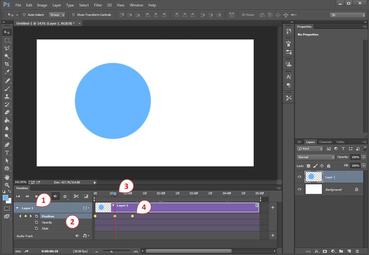 How to create an advanced photoshop animation timeline photoshop animation the video timeline panel shows a layer 1 with layer properties baditri Image collections