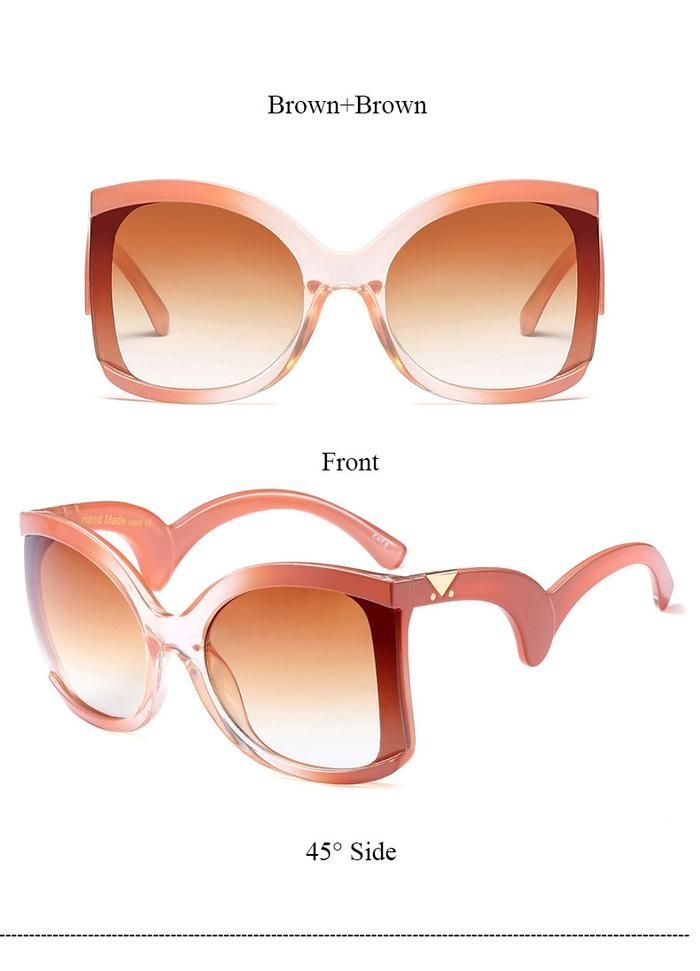 ffcbcf85ae2 2018 Black Clear Oversized Cateye Sunglasses Women Gradient Summer Style  Classic Woman Sun Glasses Big Frame