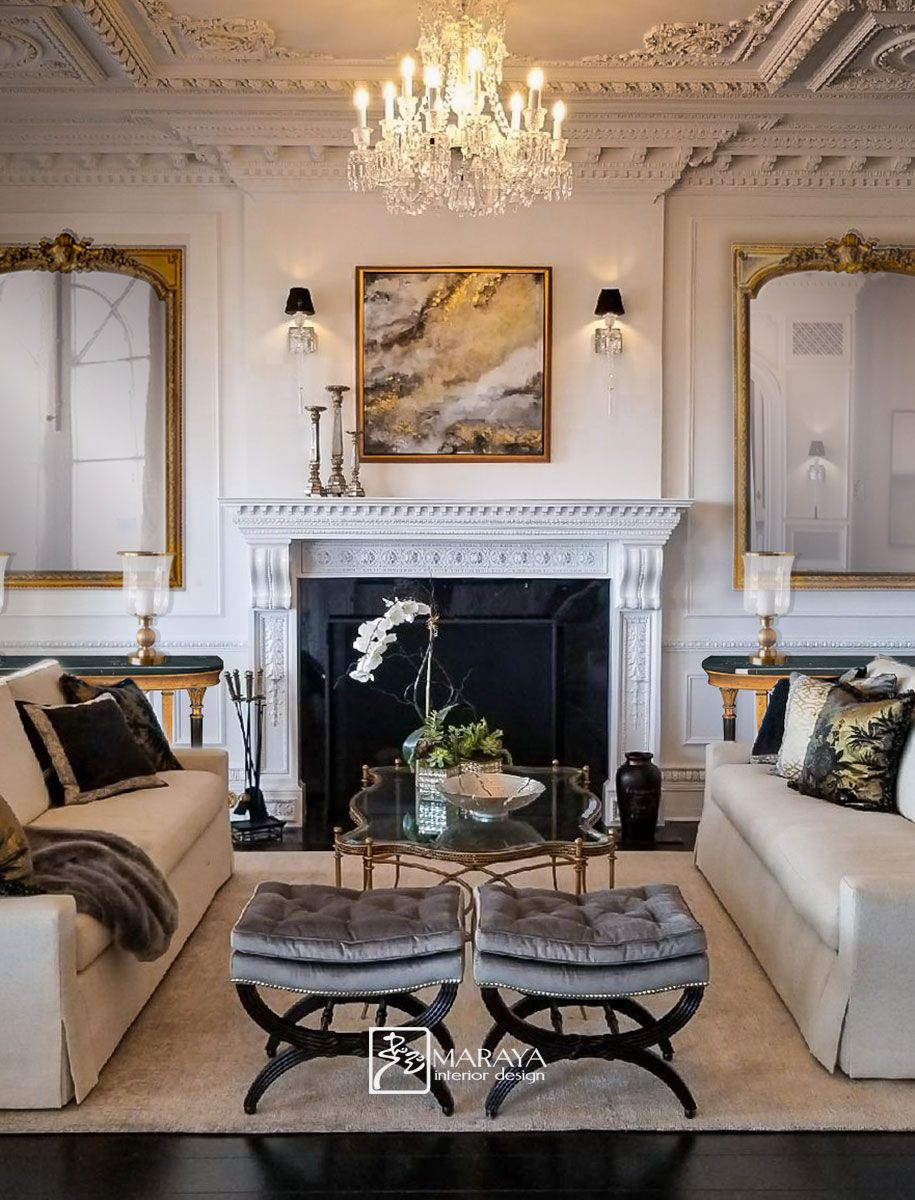 Gold Black And White Formal Living Room With White Painted